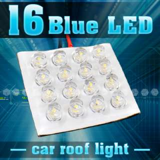 16 LED Blue Car Dome Light Roof Mount Lamp + Adapter