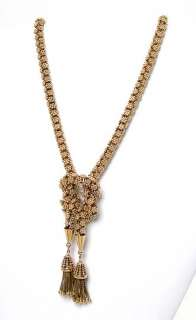 EXQUISITE 14K SOLID GOLD HEFTY FLORAL MOTIF NECKLACE