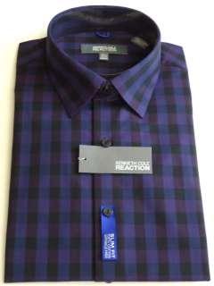 KENNETH COLE REACTION Mens Plaids Dress Shirt Blue Violet Sizes S, M