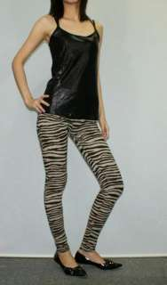 Brown zebra print leggings tights pants rock pt351 M