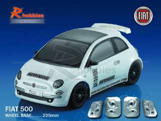 10 Fiat 500 PC Transparent RC On Road Car Body Shell