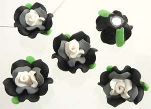 Perle Fimo Rosa 22mm foglie perline fiore BIANCO NERO