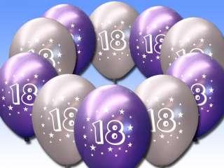 10 Purple Silver 18th Birthday 11 Pearlised Balloons