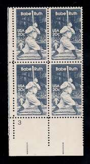 1983   BABE RUTH   #2046 Mint  MNH  Plate Block