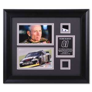 MARTIN, MARK FRAMED PHOTOS w/SHEET METAL & TIRE