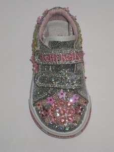 Lelli Kelly Glitter Fiori Silver Shoes LK8079 NEW