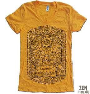 Womens SUGAR SKULL t shirt american apparel S M L XL