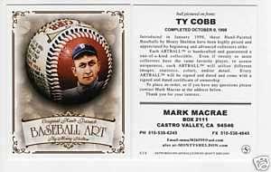 Sheldon BASEBALL ART card TY COBB, Detroit Tigers