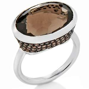 60ct Smoky Quartz and Red Diamond Sterling Silver Oval Ring