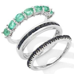 Emerald and Black Sapphire Sterling Silver 3 piece Ring Set