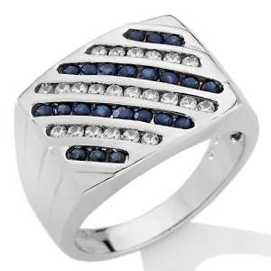 Absolute™ and Sapphire Sterling Silver Bold Mens Ring