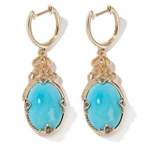 Beauty Turquoise and Diamond Accented 14K Drop Earrings
