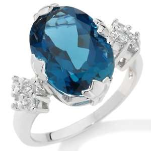 Blue Topaz and Sky Blue Topaz Sterling Silver Oval Ring