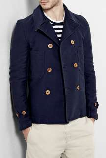 COMME des GARCONS SHIRT  Navy Overdye Stone Washed Pea Coat by Comme