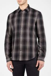 Vince  Charcoal Ombre Plaid Flannel Shirt by Vince