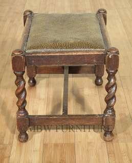 Antique English Solid Oak Jacobean Faux Leather Ottoman Foot Stool