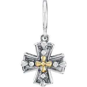14K Yellow Gold Sterling Silver Cross Charm Pendant   15.8mm Jewelry