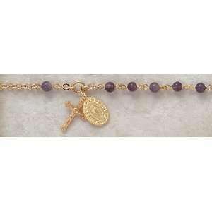 Amethyst Gold Plated Semi Precious Catholic 4MM Rosary 7 Bracelet