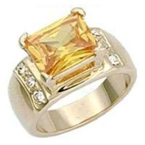 Jewelry   2 Carat Topaz CZ Gold Tone Ring SZ 5 Jewelry