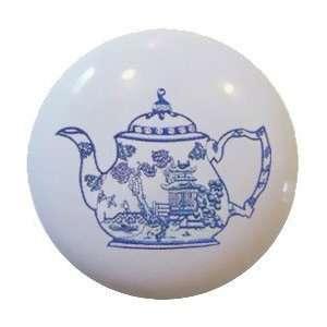 Antique Blue willow teapot Ceramic Knobs Pulls Kitchen Drawer Dresser