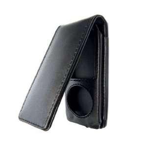 New Premium Black Flip Vertical Leather Case For Apple iPod Nano 4th