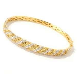14K Gold Yellow Sapphire & Diamond Bangle Bracelet Jewelry