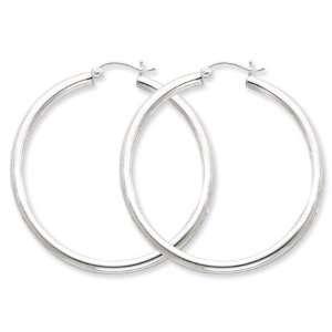 925 Sterling Silver Large Open Polished Hoop Earrings Jewelry