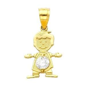 14K Yellow Gold April CZ Birthstone Boy Charm Pendant for