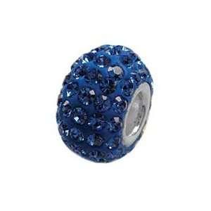 Birthstone Swarovski Crystal Pave 925 Sterling Silver Bead Charm