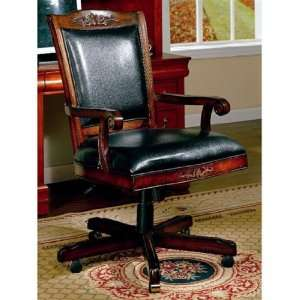 Black Leather Like Vinyl Home Office Chair   Coaster Co