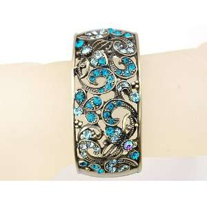 Brass Vine Floral Blue Zircon Rhinestone Cuff Bangle Bracelet Jewelry