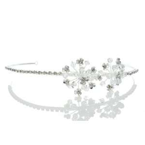 Bridal Wedding Flower Cluster Rhinestone Crystal Headband Tiara