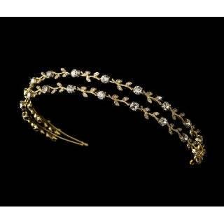Elegant Gold Headband with Pearl & Crystal Flower Side