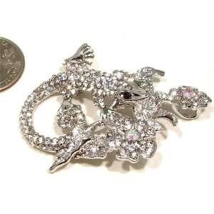 Rhinestone Crouching Gecko Lizard Silver Plated Brooch Pin  Pendant
