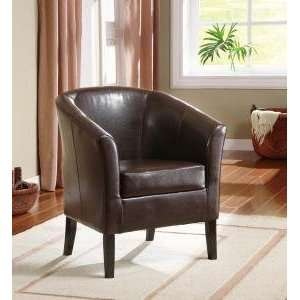 Simon Brown Faux Leather Club Chair