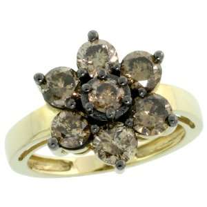 10k Gold Diamond Flower Ring, w/ 2.00 Carats Brilliant Cut Fancy Brown
