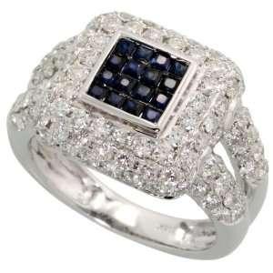 Carats Brilliant Cut Diamonds & 0.50 Carat Princess Cut Blue Sapphire