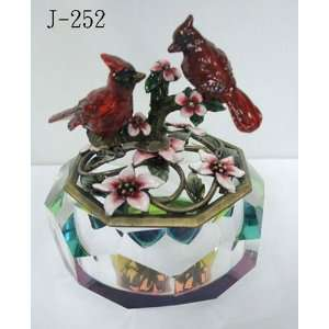 With Flowers Crystal Glass Jewelry Trinket Box 4in H: Home & Kitchen