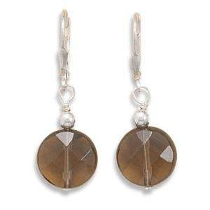Faceted Smoky Quartz Lever Back Sterling Silver Earrings Jewelry