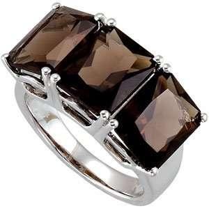 Sterling Silver 10.00 X 08.00MM Geniune Smoky Quartz Ring Jewelry