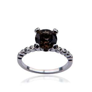 Sterling Silver Marcasite and Smoky Quartz Round Ring, Size 7 Jewelry