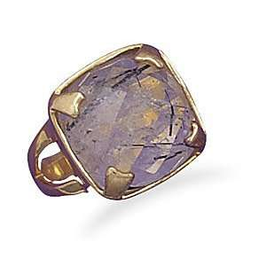 Silver Rutillated Quartz Ring with 14 Karat Gold Plated Band   Size 8
