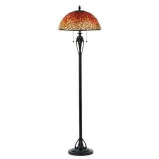 Dale Tiffany Rose Motif Art Glass Floor Lamp