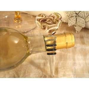 Murano art deco heart stopper gold and white color glass