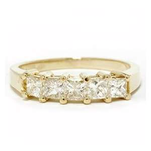 1.00CT Princess Cut Diamond Anniversary 14K Gold Ring Jewelry