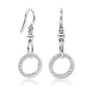 14k White Gold Fashionable Diamond Drop Earrings Jewelry