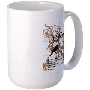 Large Mug Coffee Drink Cup Faith Dove   Christian Cross