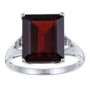 10k White Gold Emerald Cut Garnet and Diamond Ring size 7.5 Jewelry