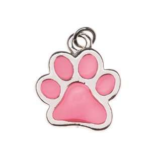 Silver Plated Translucent Hot Pink Enamel Paw Print Charm