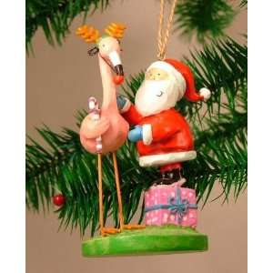 Rudolph Red Nosed Pink Flamingo Christmas Ornament
